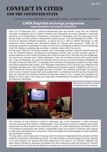 Cara Baghdad Exchange Programme - Conflict in Cities and the ...