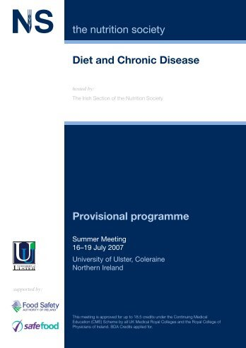 Diet and Chronic Disease the nutrition society Provisional programme