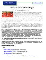 Athletic Enhancement Herbal Program - True-Wellness