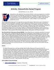 Arthritis: Osteoarthritis Herbal Program - True-Wellness