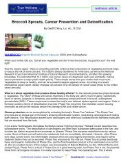 Broccoli Sprouts, Cancer Prevention and ... - True-Wellness