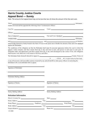 Eviction Case Appeal Bond (Surety) - Harris County Justice of the ...