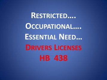 Restricted Occupational Essential Need Drivers Licenses