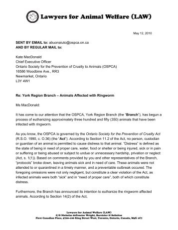 cease and desist letter animal justice canada