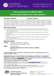 One Day Workshop for PARENTS/CARERS of School Aged ...