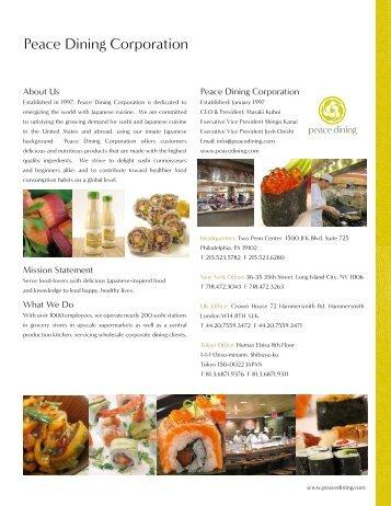Company Profile (PDF) - Peace Dining Corporation