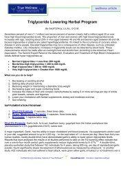 Triglyceride Lowering Herbal Program - True-Wellness