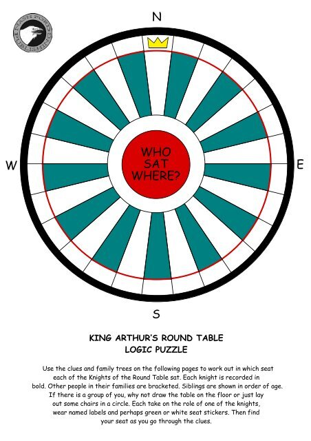 King Arthur S Round Table Logic Puzzle, Puzzle Round Table