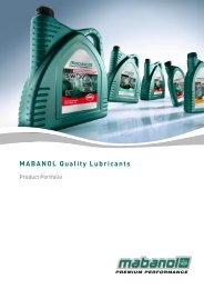 Product Portfolio MABANOL Quality Lubricants