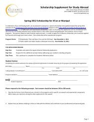 Application for Study Abroad - Alliance for Global Education