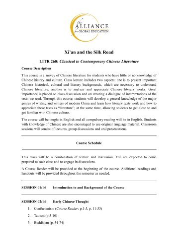 LITR260 Classical to Contemporary Chinese Literature - Alliance for ...