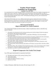 Student Teaching TWS Guidelines 2011-2012, revised August 2011