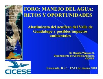 Abatimiento del acuífero del Valle de Guadalupe y posibles ...