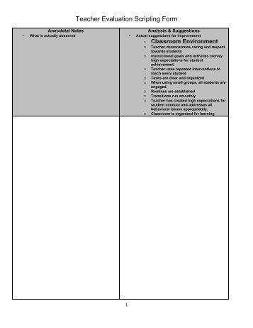 Teacher Evaluation Scripting Form - IllinoisASA