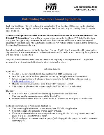 Outstanding Volunteer Award Application - Illinois PTA