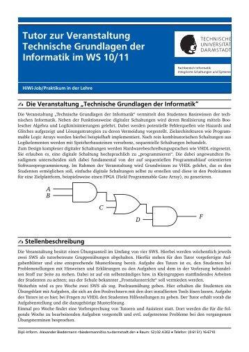 Tutor zur Veranstaltung Technische Grundlagen der Informatik im ...