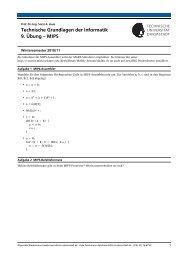 Technische Grundlagen der Informatik 9. Übung – MIPS