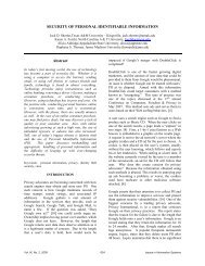 SECURITY OF PERSONAL IDENTIFIABLE INFORMATION Abstract