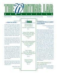 tutoring Writing as Career development - The Writing Lab Newsletter