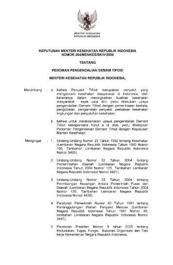 Keputusan Menteri Kesehatan No 364 Tahun 2006 tentang ...