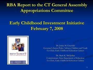 Early Childhood Investment Initiative - Connecticut Early Childhood ...