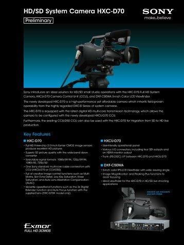 HD/SD System Camera HXC-D70 - VideoCorp