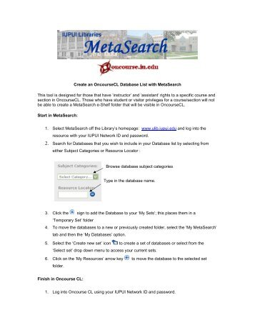 Create an OncourseCL Database List with MetaSearch This tool is ...