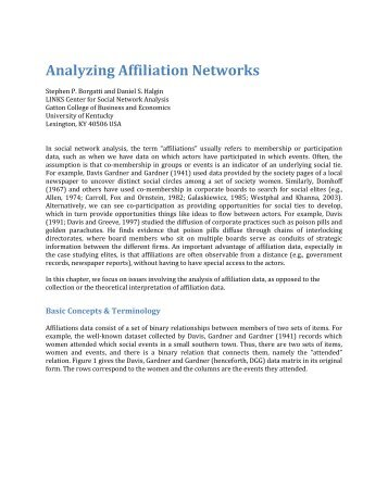 Analyzing Affiliation Networks