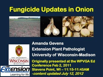 Fungicide Updates in Onion - Department of Plant Pathology