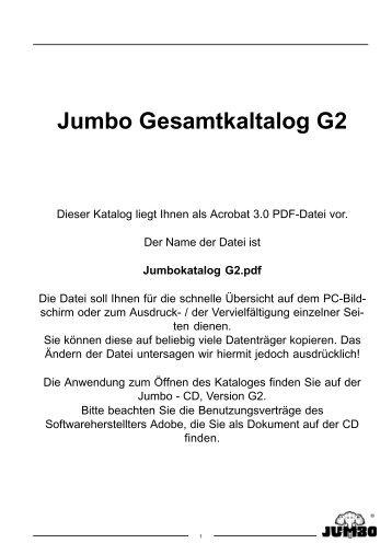 Jumbo Gesamtkaltalog G2 - Dieser Katalog  liegt - Jumbo-Fischer