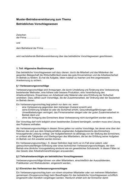 Muster Betriebsvereinbarung Als Pdf Br Wiki 12