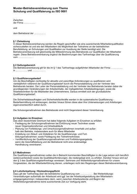 Muster Betriebsvereinbarung Als Pdf Br Wiki 11