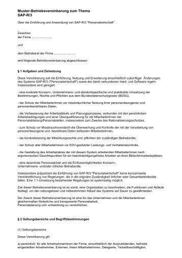 muster betriebsvereinbarung als pdf br wiki - Rangrcktrittserklrung Muster