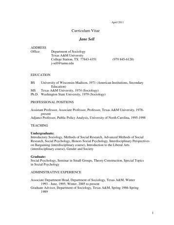 Curriculum Vitae Jane Sell - Department of Sociology - Texas A&M ...
