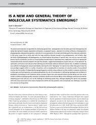 is a new and general theory of molecular systematics emerging?