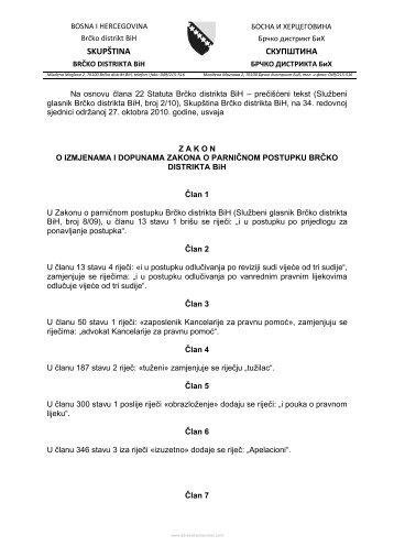 Zakon o izmjenama i dopunama Zakona o parničnom postupku BD ...