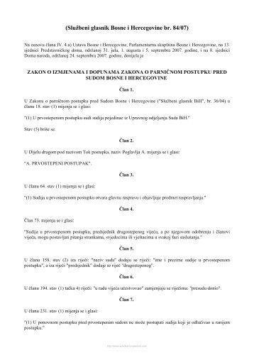 zakon o izmjenama i dopunama zakona o parničnom postupku pred ...