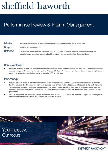 Performance Review & Interim Management - Sheffield Haworth