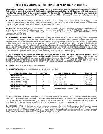 "2013 DRYA SAILING INSTRUCTIONS FOR ""A/B ... - Detroit Yacht Club"