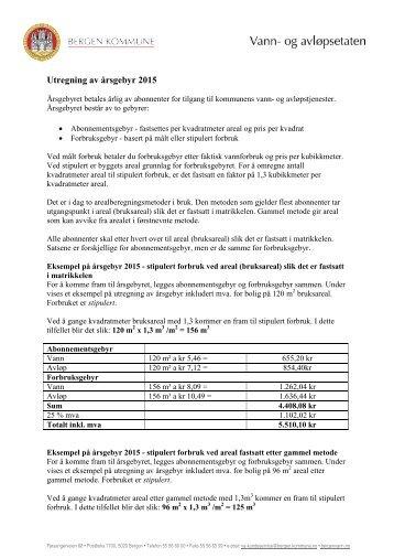 Utregning av årsgebyr 2013