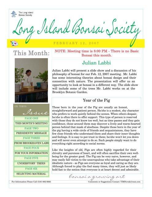 February The Long Island Bonsai Society