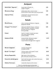 pizzeria menu - Tra Vigne