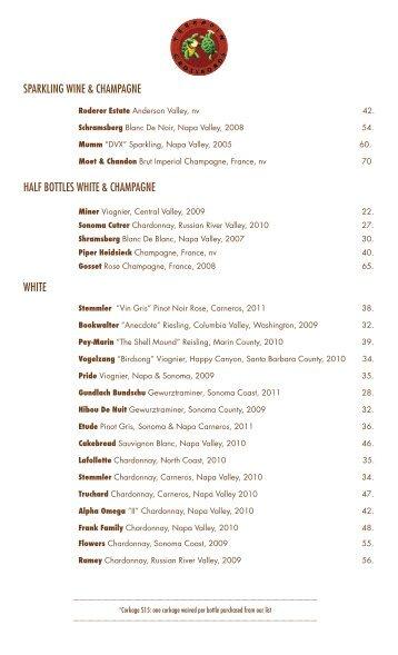 SPARKLING WINE & CHAMPAGNE WHITE HALF BOTTLES WHITE ...