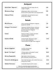 menu - Tra Vigne