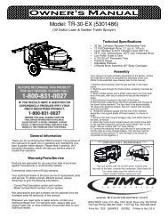 Owner's Manual - FIMCO Industries