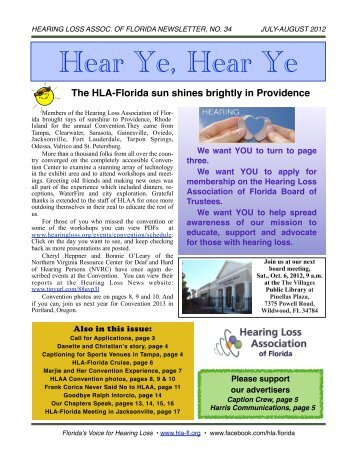 JULY 2012 E-Newsletter - Hearing Loss Association of Florida