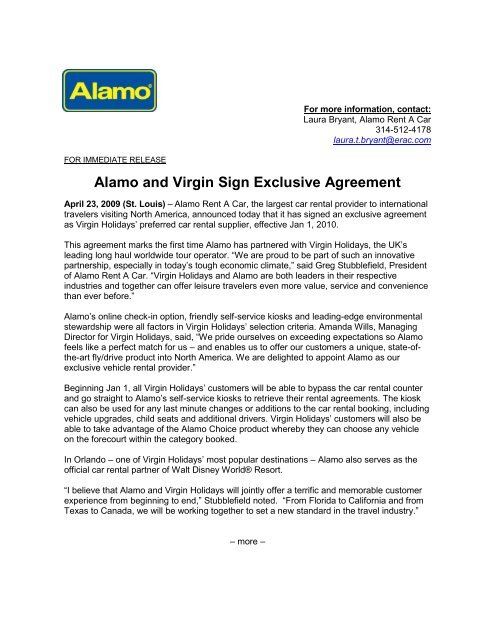 Alamo And Virgin Sign Exclusive Agreement Enterprise Holdings