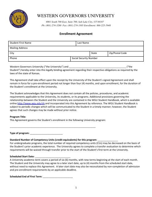 See A Sample Of The Enrollment Agreement Pdf Western