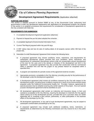 Planning Application Development Agreement Lovett Lake Estates