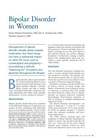 Bipolar Disorder Journal Articles